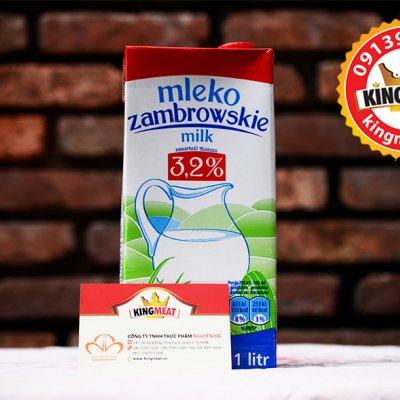 SỮA TƯƠI TIỆT TRÙNG ÍT BÉO MLEKPOL - MLEKPOL MLEKO ZAMBROWSKIE MILK- HỘP 1 L