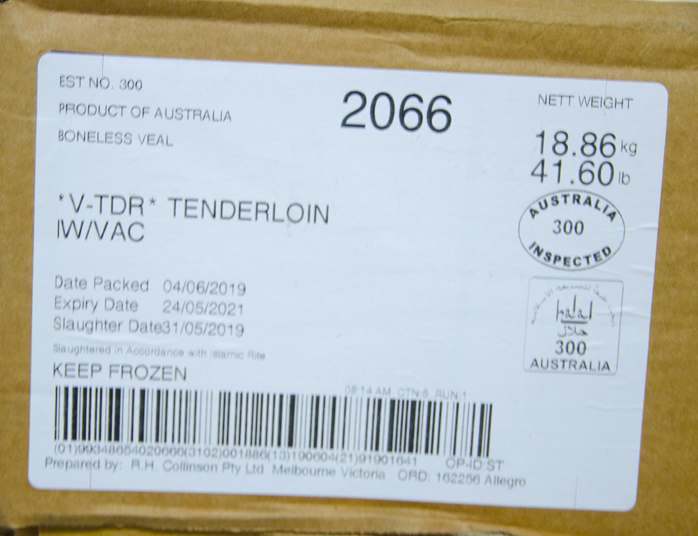 THĂN NỘI BÊ ÚC ĐÔNG LẠNH - FILET - VEAL TENDERLOIN - FROZEN AUSTRALIAN VEAL