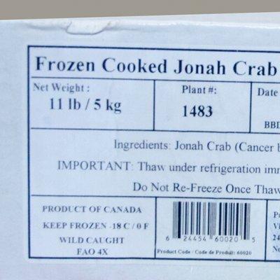 CUA JONAH NỬA CON ĐÔNG LẠNH – FZ CANADA JONAH CRAB SECTION ( 5KG/THÙNG)