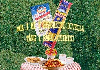 Chương trình khuyến mãi mua 1 Mì Sợi Ý Spaghetti Số 8 Hiệu Divella tặng 1 gói bánh Ottimini