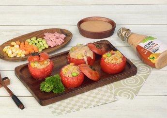 Cà chua nhồi cơm canxi rau củ
