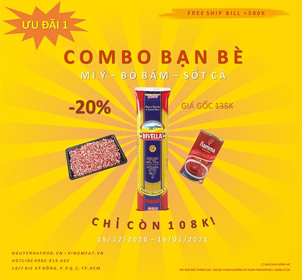 Ưu Đãi 1: Giảm 20% Combo Bạn Bè - Mì Ý - Bò Xay - Sốt Cà Chua Paste