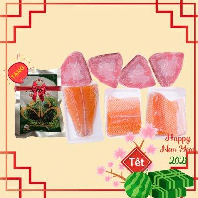 Combo TẾT HỒI XUÂN (file cá hồi, file cá ngừ, tặng rong nho, tặng thùng xốp giữ nhiệt)