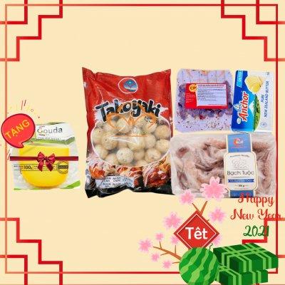 Combo NƯỚNG ( râu bạch tuộc, bánh Nhật Takoyaki, Gà xiên que teriyaki, bơ  Anchor, tặng phô mai Gouda)