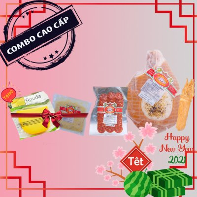 Combo THỊT NGUỘI CAO CẤP (honey glazed smoked ham,  xúc xích khô chorizo, phô mai xông khói, tặng phô mai và dưa cải muối)