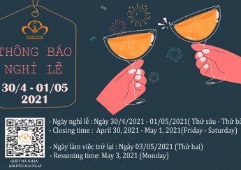 Thông báo Lịch Nghỉ Lễ Giỗ Tổ Hùng Vương, Lễ 30/4 và 01/05 năm 2021 của Nguyên Hà Food