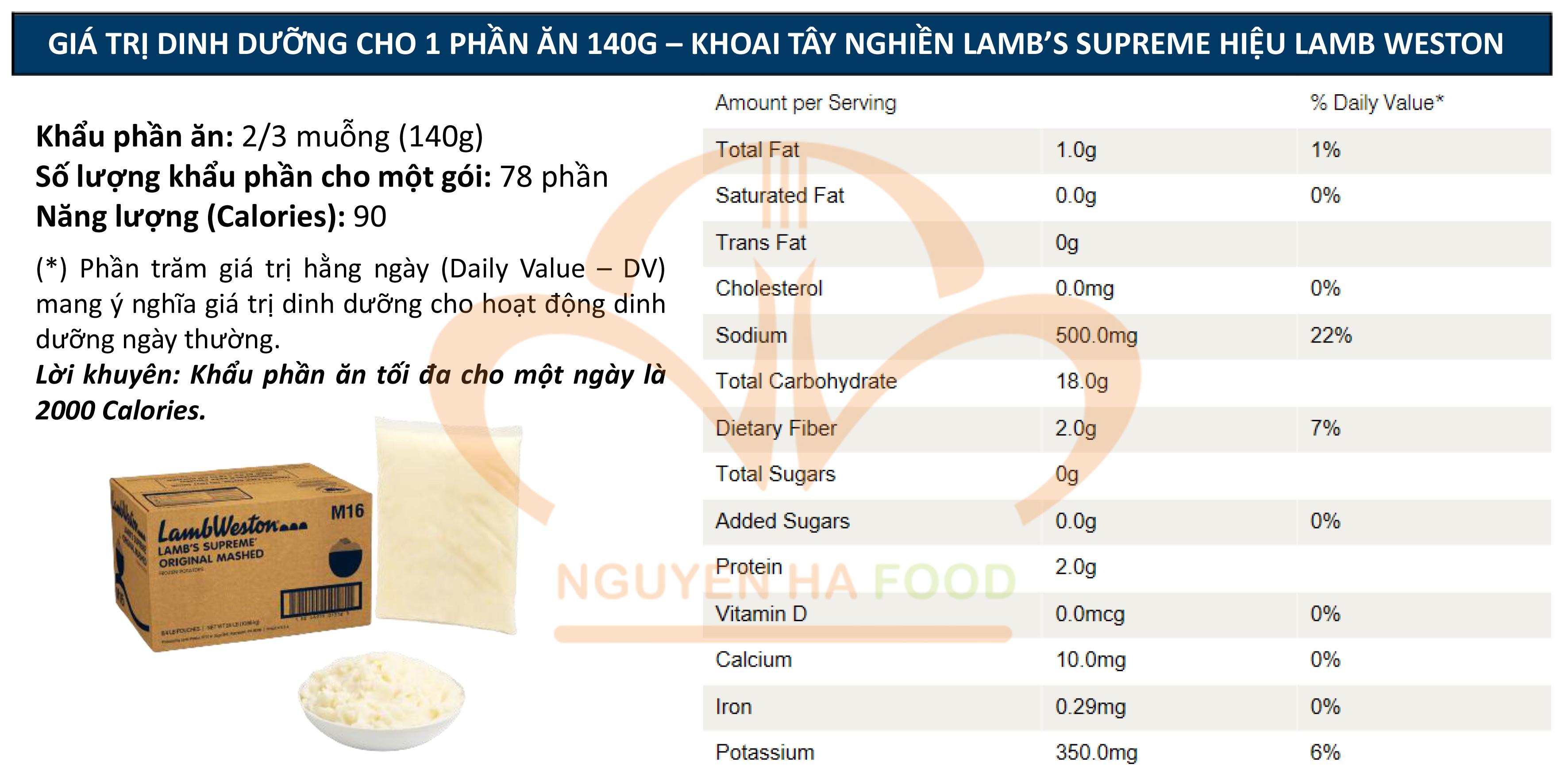 GIA TRI DINH DUONG KHOAI TAY NGHIEN LAMB'S SUPREME LAMB WESTON NGUYEN HA FOOD