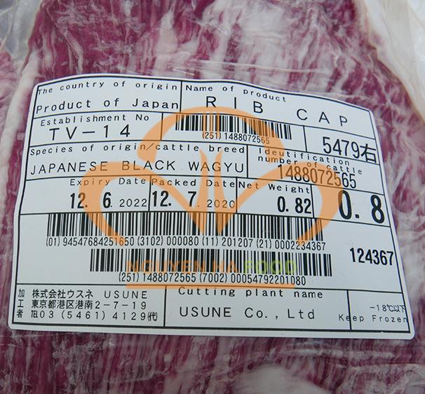 Tem chi tiết sản phẩm nắp thăn ngoại bò Wagyu