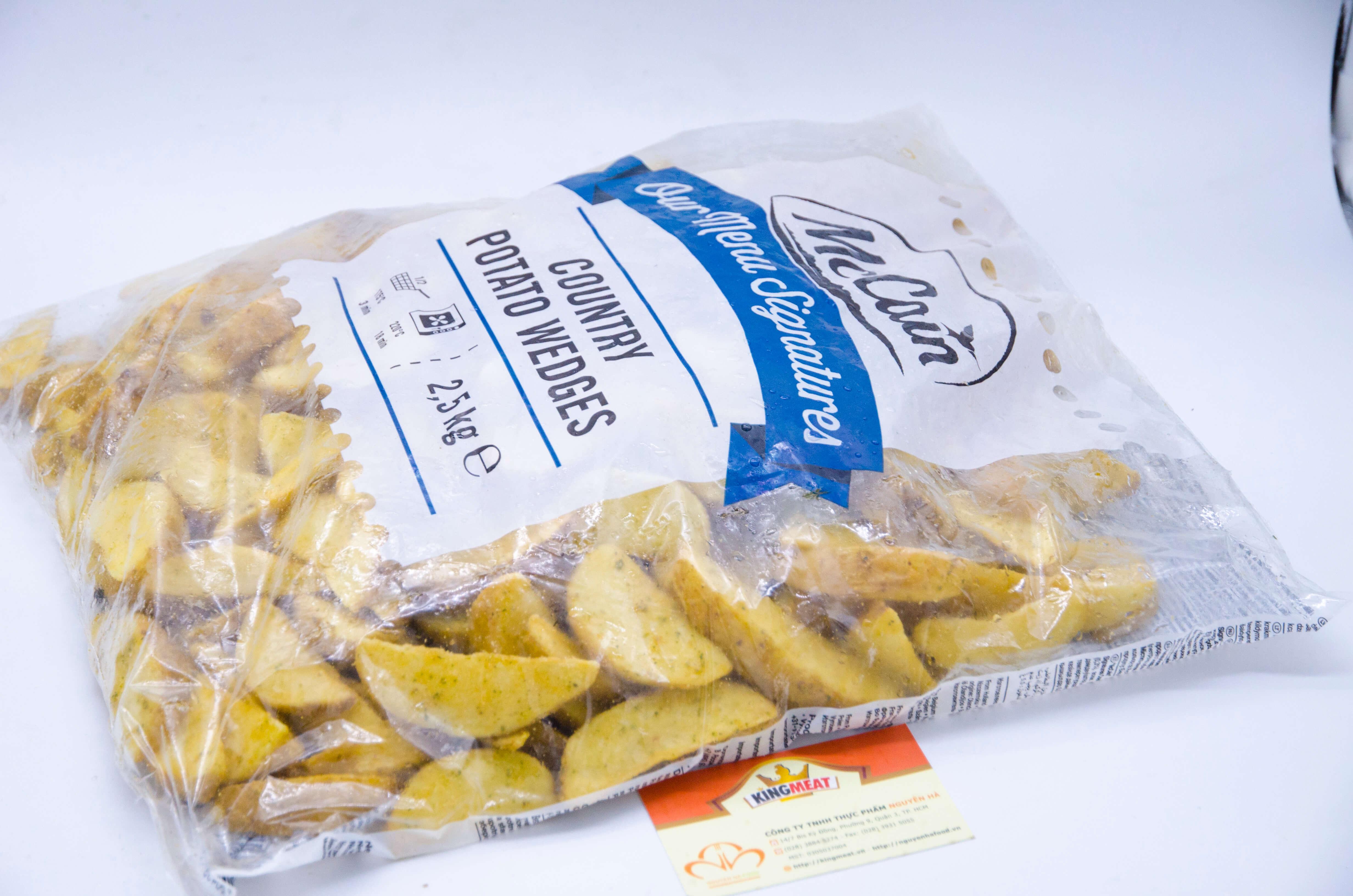 Khoai tây Cắt múi tẩm tỏi McCain – McCain Country Potato Wedges -(2.5kg/bao)