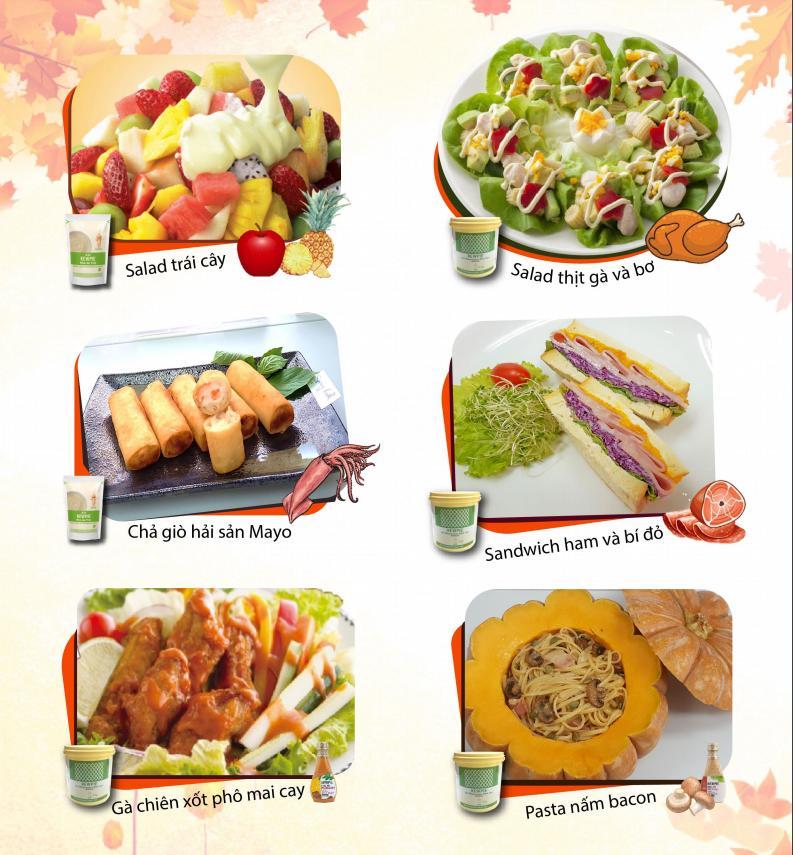 Các món ăn kèm với nước xốt Kewpie