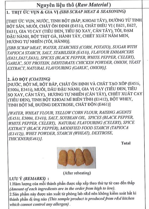 Nguyên liệu lam món nugget gà